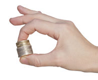 Stack coins in hand Stock Image