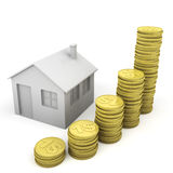 Stack of coins and house icon Stock Photos