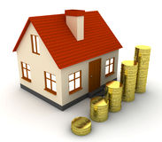 Stack of coins and house icon. 3D render Royalty Free Stock Photo