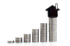 Stack of coins and house shape Stock Photography
