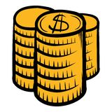 Stack of coins icon cartoon. Stack of coins icon in cartoon style isolated vector illustration Stock Photography