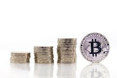 Stack coins increase level up, Bitcoin beside stack coins using as business concept.  Stock Photos