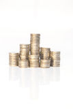 Stack of coins isolated on white Royalty Free Stock Photo