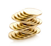 Stack of coins isolated Royalty Free Stock Images