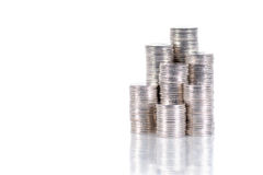 Stack of coins isolated on white Royalty Free Stock Images