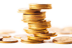 Stack of coins isolated with white background Royalty Free Stock Photo