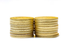 Stack of coins isolated on white Stock Image