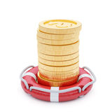 Stack of coins with lifebuoy Royalty Free Stock Photo