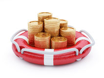 Stack of coins with lifebuoy Stock Photo