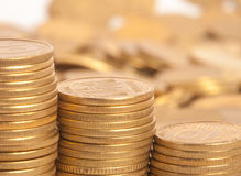 Stack of coins. Stack of many gold coins, ten ukrainian kopeck Royalty Free Stock Image