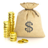 Stack coins and rag bag with money Royalty Free Stock Photo