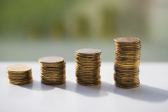 Stack of coins, polish zloty stock photos