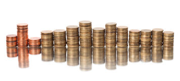 Stack of coins. Represent a stock graph Royalty Free Stock Photos