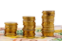Stack coins, rising curve Stock Images