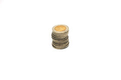 Stack of coins. Row of coins stack isolated on white background Stock Photography