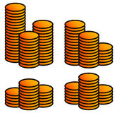 Stack of coins. Set of 4 versions. Stock Photography