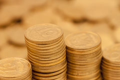 Stack of coins. Stack of ukrainian coins, can be used as background Royalty Free Stock Images