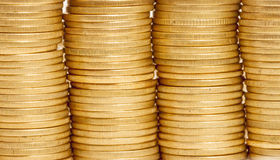 Stack of coins. Stack of ukrainian coins, can be used as background Royalty Free Stock Photography