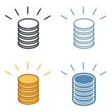 A stack of coins vector outline icon set. Money, business and finance line symbols and pictograms. Vector thin contour infographic element. Concept Stock Image