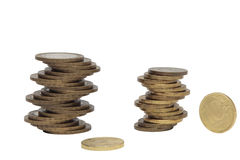 Stack of coins on white background Stock Images