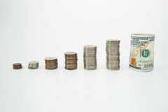 Stack of coins on white background Stock Photos