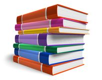 Stack of color books. Isolated over white background Stock Photography