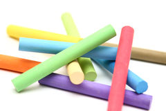 Stack of color chalk sticks stock photo