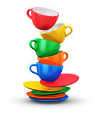 Stack of color coffee cups Stock Images