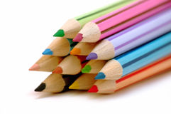 Stack of color pencils Royalty Free Stock Image