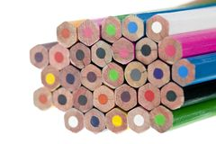 Stack of color pencils Stock Images