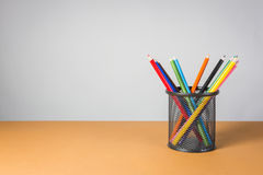A stack of color pencils Royalty Free Stock Photography