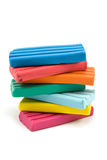 Stack of color plasticine bricks Stock Photos
