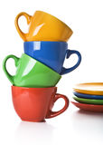 Stack of color tea cups and saucers Stock Images