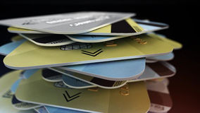 A stack of colored bank cards. Stock Photo