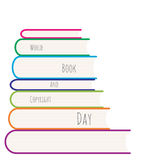 Stack of colored books vector illustration. Royalty Free Stock Photo