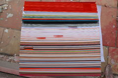 Stack of colored cardboard texture paper Stock Photography