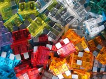 Stack of colored electrical fuse Royalty Free Stock Photo