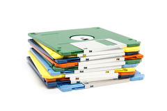 Stack of colored floppy disks Royalty Free Stock Image