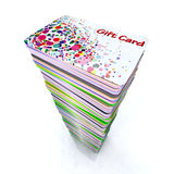 Stack of colored gift cards stock illustration