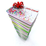 Stack of colored gift cards. With red ribbon, 3d illustration Royalty Free Stock Photo