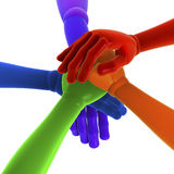 Stack of colored hands Stock Image