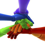 Stack of colored hands stock photos