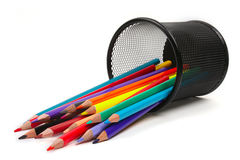 Stack of colored pencils Stock Images