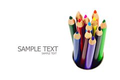 A stack of colored pencils. On white background Royalty Free Stock Photography