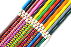 Stack of colored pencils on white background Royalty Free Stock Images