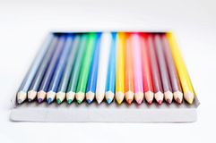 Stack of colored pencils on white background Royalty Free Stock Photography