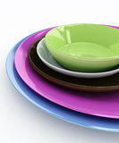 Stack of colored plates Stock Photos