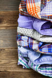 Stack of colored shirts Stock Photo