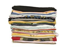 Stack of colored t-shirt Stock Photo