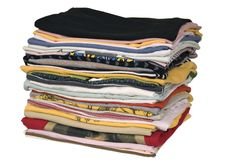 Stack of colored t-shirts Stock Photos